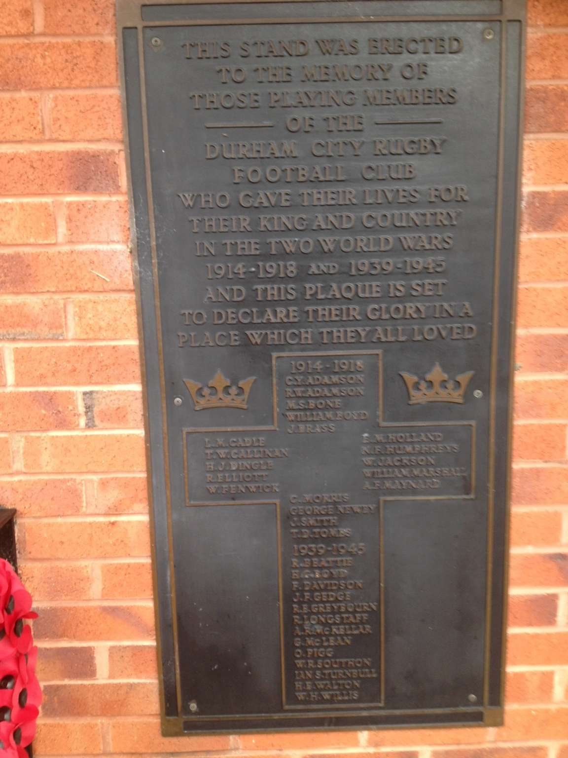 Durham City Rugby Club Plaque And Grandstand War Memorials Online