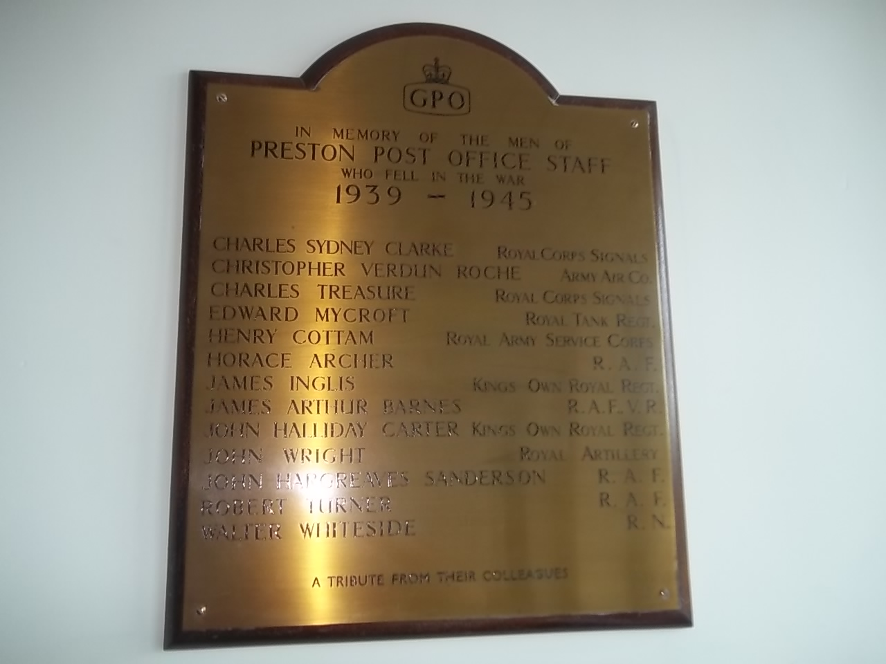 Preston Post Office Staff War Memorial - War Memorials Online