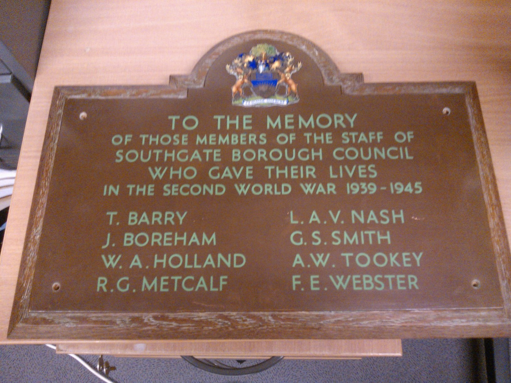 Southgate Town Hall WW2 memorial photographed while in storage